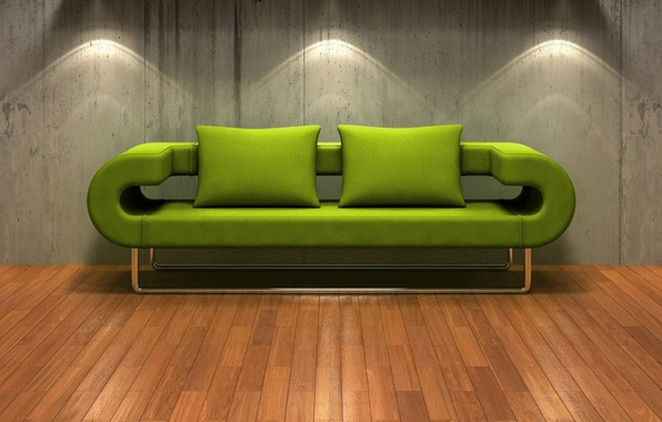 Picture Sofa, Backlight, Wall, Green, Flooring
