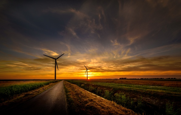 Picture road, sunset, windmills