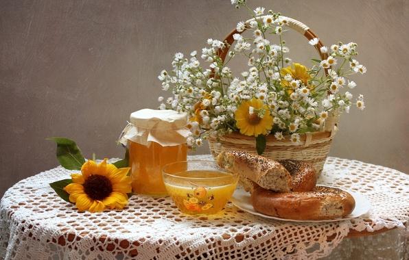 Picture summer, chamomile, sunflower, bouquet, texture, honey, still life, gelenium, bagel