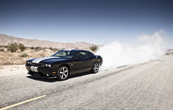 Picture mountains, black, desert, smoke, Dodge, SRT8, Challenger, black, Dodge, 392, racing stripes, Challenger, burns rubber