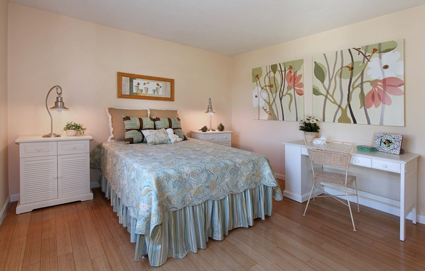Picture design, style, furniture, pictures, table, bedroom