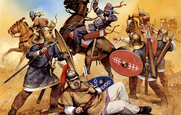Picture art, battle, shields, Darts, hats, archers, Luke, calculi, Roman legionaries, I century BC, horse, arrows.figure, …