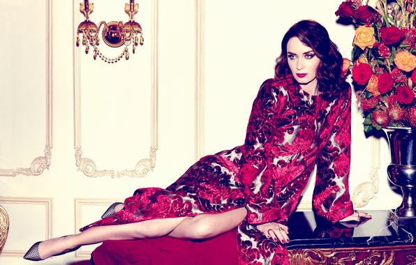 Picture flowers, pose, makeup, dress, actress, brunette, hairstyle, shoes, outfit, vase, photoshoot, Emily Blunt, Emily Blunt, …