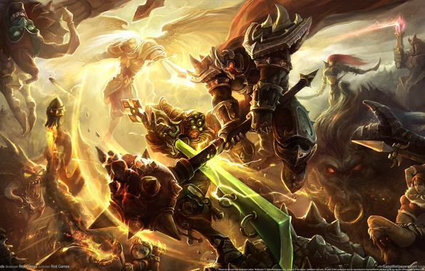 Picture weapons, magic, wings, monsters, battle, armor, league of legends
