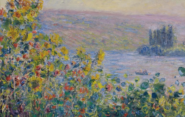 Picture landscape, flowers, picture, Claude Monet, Flowers Beds at Vetheuil