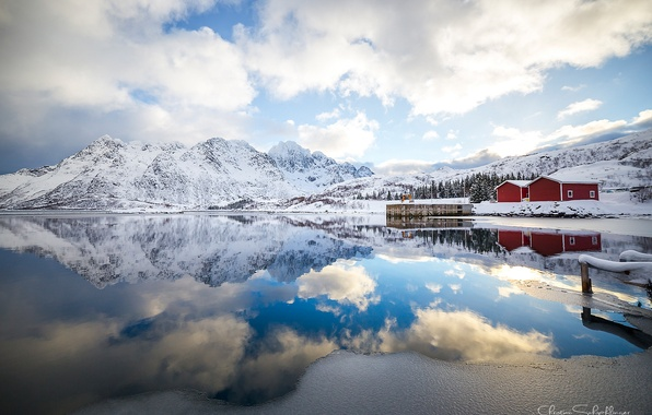 Picture clouds, reflection, mountains, morning, Norway, The Lofoten Islands