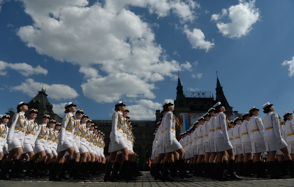 Picture girls, holiday, victory day, parade, red square, Russia, military, defense, cadets, University
