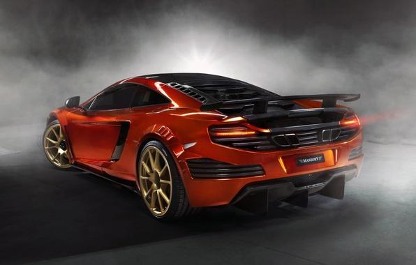 Picture orange, background, tuning, smoke, McLaren, supercar, rear view, tuning, MP4-12C, Mansory, McLaren