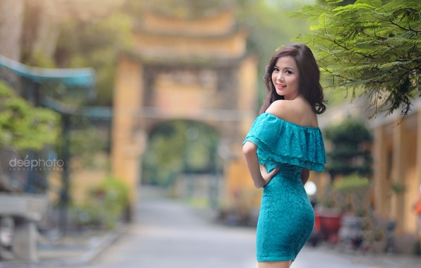 Picture girl, Park, dress, Asian, bokeh