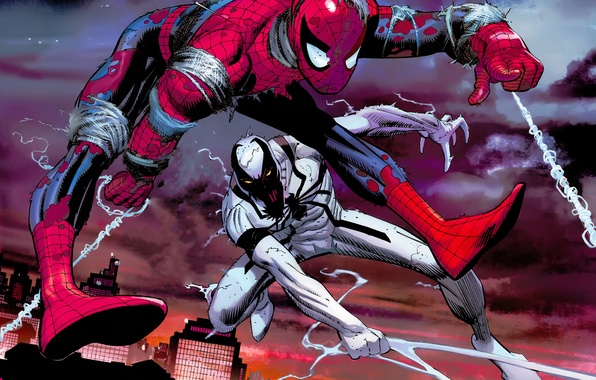 Picture the city, web, battle, Spider-man, Spider-man, Marvel Comics, Anti-Venom, Anti-Venom