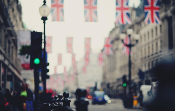 Picture road, machine, the city, people, street, England, London, blur, UK, flags, bokeh, London, England, Great …