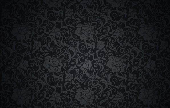 Wallpaper retro, pattern, vector, dark, black, ornament ...