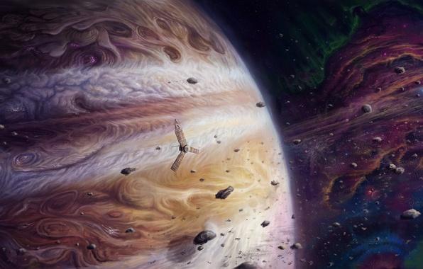 Picture space, planet, satellite, asteroids, art, Jupiter, giant, jupiter and juno