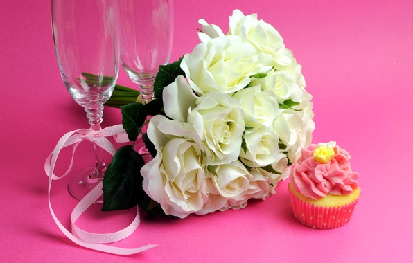 Picture white, flowers, photo, roses, bouquet, glasses, cake