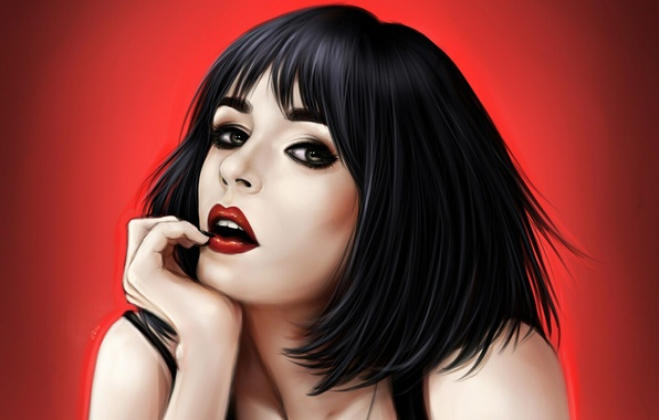 Picture look, portrait, Girl, red background, red lips