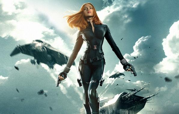 Picture Scarlett Johansson, Girl, Red, Winter, Men, The, Guns, Marvel, Captain America, Black Widow, Battleship, Natasha, …