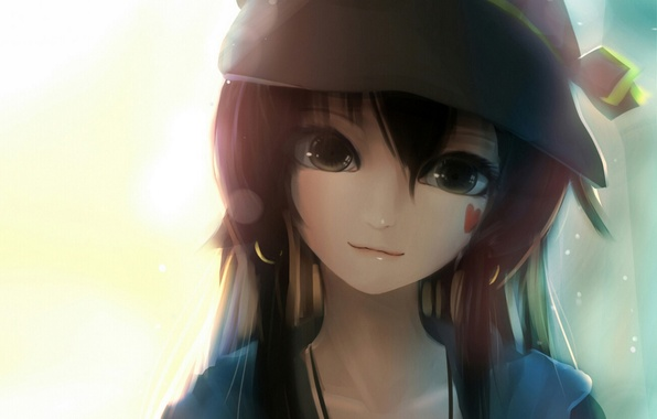 Picture girl, face, smile, hat, anime, art, heart, you