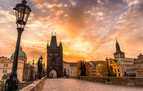 Picture autumn, the sky, clouds, sunset, bridge, the city, pavers, Prague, Czech Republic, architecture, sculpture, Prague, …