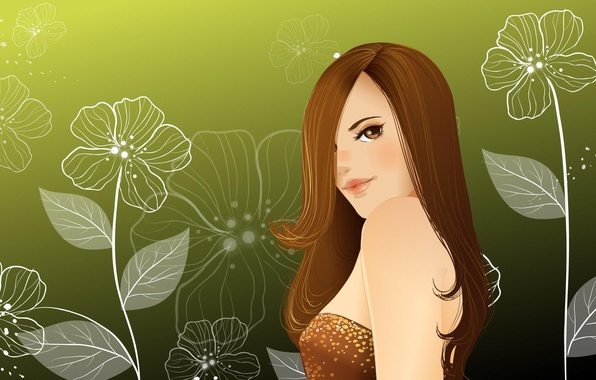 Picture girl, flowers, pattern, hair, figure