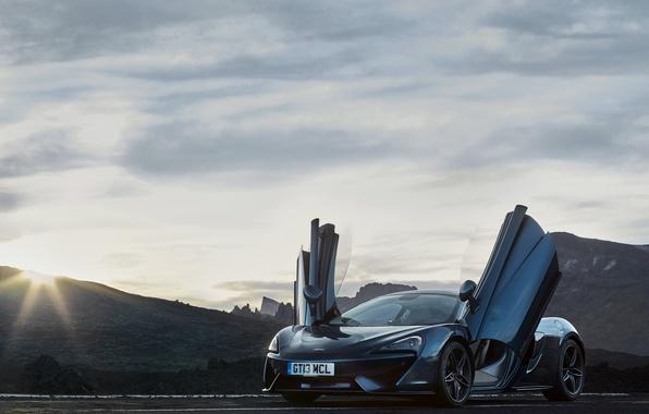 Picture auto, the sun, light, McLaren, door, supercar, the front, 570GT