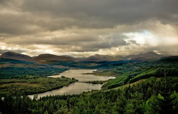 Picture forest, the sky, trees, landscape, mountains, clouds, lake, Scotland, UK, lake, Scotland, Great Britain, Loch …
