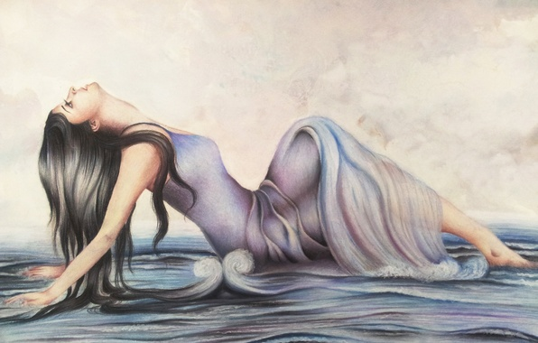 Picture sea, wave, girl, face, pose, hands, dress, profile, painting, long hair