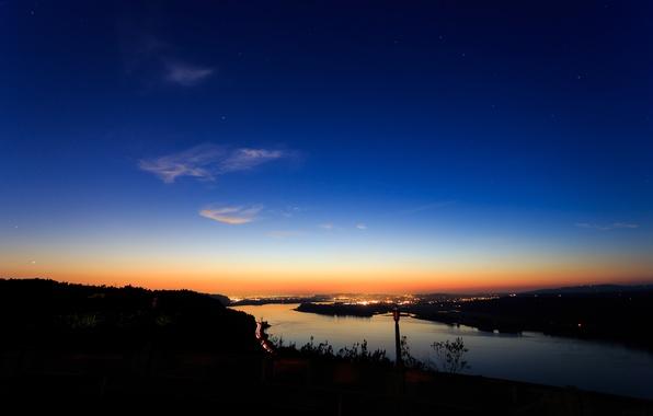 Picture river, dawn, silhouette, Bank, Portland, Columbia River Gorge