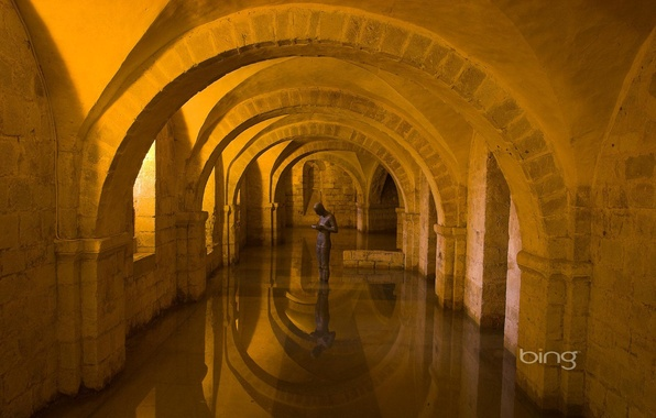Picture water, light, arch, sculpture, architecture, the room, arcade