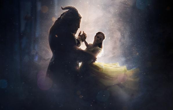 Picture cinema, girl, love, fantasy, Disney, Emma Watson, magic, horns, monster, dress, woman, yellow, blue, lion, …
