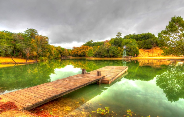 Picture autumn, water, trees, pond, Park, reflection, pier