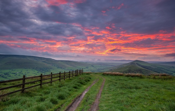 Picture road, the sky, landscape, sunset, mountains, the fence