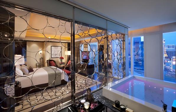 Picture bed, bath, the hotel, Las Vegas, bedroom, Las Vegas, hotel, interior, chair.