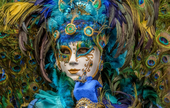 Picture feathers, mask, peacock, carnival