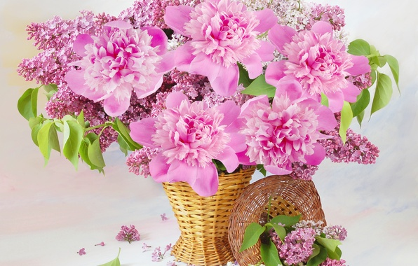 Picture flowers, basket, lilac, peonies