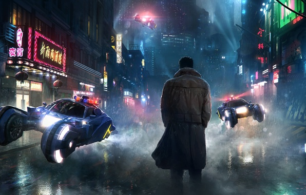 Picture fiction, rain, the film, street, people, art, dystopia, future, transport, Blade Runner, Blade runner