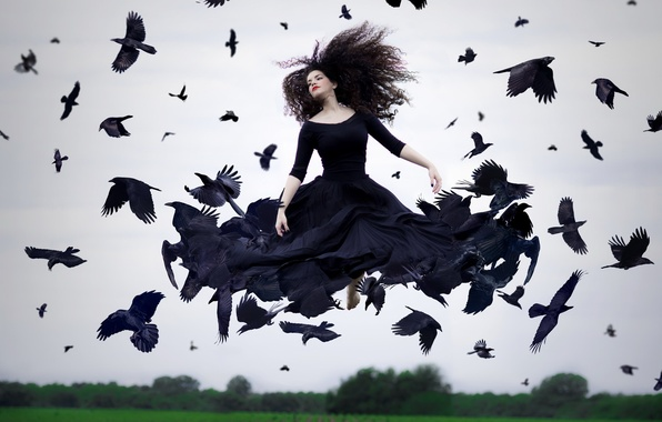 Picture girl, birds, crows