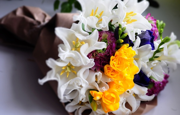 Picture flowers, bouquet, yellow, tulips, white