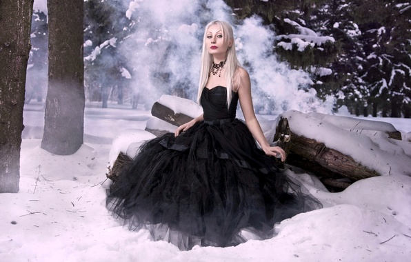Picture winter, forest, snow, romance, model, hair, leather, ate, slim, dress, fantasy, black, blonde, lips, red, …