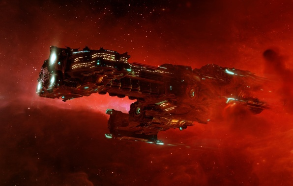 Picture red, Space, galaxy, Shuttle, Hyperion, Hyperion
