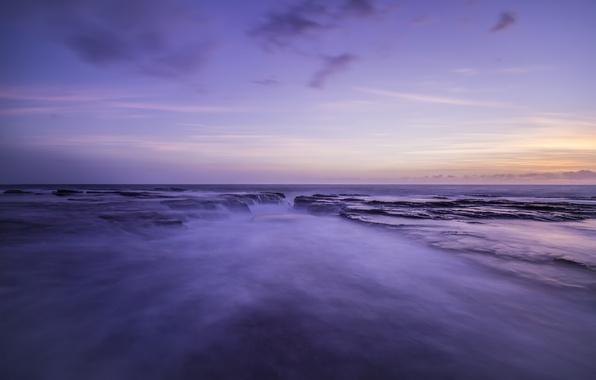 Picture sea, the sky, sunset, shore, the evening, Australia, Bay, Laguna, lilac