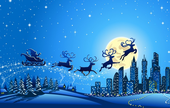 Picture stars, snow, trees, city, the city, vector, graphics, new year, home, vector, new year, trees, …