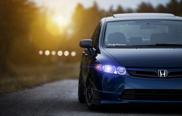 Picture the sun, sunset, blue, Honda, Blik, Honda, blue, front, civic, Sedan, Civic
