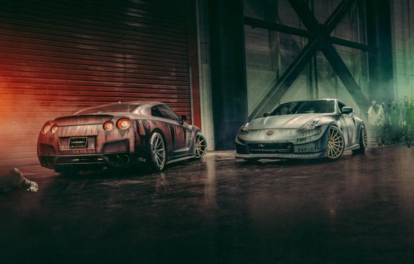 Picture Apocalypse, zombies, Nissan, GT-R, front, rear, 370Z, apocalypse, Vossen Wheels, zomby