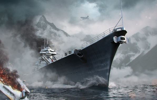Picture Water, Sea, Mountains, Fog, Wave, Ship, Battleship, Bismarck, Wargaming Net, Bismarck, WoWS, World of Warships, …