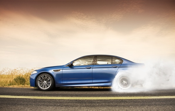 Picture road, the sky, clouds, BMW, BMW, blue, blue, F10, burning rubber
