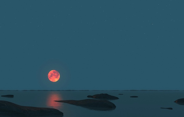 Picture sea, the sky, night, stones, the moon, horizon, panorama
