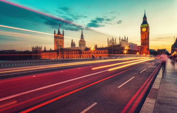 Picture road, light, night, the city, lights, England, London, the evening, excerpt, Parliament, UK, Big Ben, …