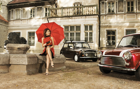 Picture girl, machine, smile, retro, Windows, Leo, umbrella, yard, brown hair, statue