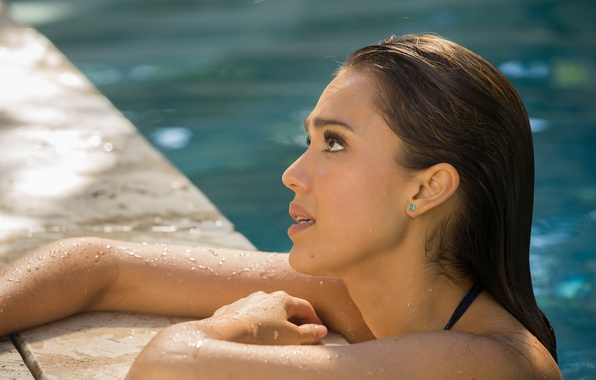 Picture Jessica Alba, wet, pool, brunette, Jessica Alba, beautiful, in the water, How to Make Love …