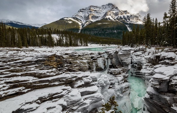 Picture mountains, river, Athabasca Fall Jasper National park